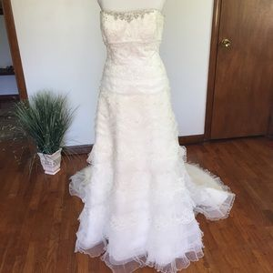 Oleg Cassini Lace Tulle Beaded Wedding Gown CWG352